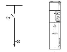 Кабельный вход/выход, оснащен отключателем нагрузки ISF (с ручным приводом CI1).