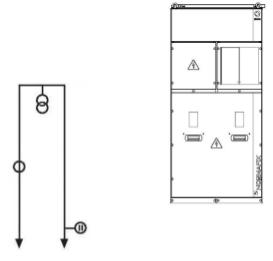 Измерение тока и напряжения без отключателя нагрузки. Оснащена, по желанию заказчика, сигнализацией наличия напряжения на шинах. Поставляются следующие модификации ячеек: - вход с левой стороны на нижние шины (в месте под разъединителем перемычки SBD) и вывод на главных шинах с правой стороны. Обязательное применение перемычки SBD! - Специальная конструкция с входом и выходом с помощью кабеля.
