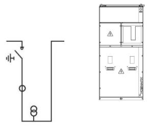 Ячейка продольной перемычки с отключателем нагрузки, рансформаторами тока и напряжения с предохранителями ( по желанию с сигнализацией наличия напряжения на шинах) - SBM с выходом с правой стороны (отключатель с левой стороны) или свыводом с левой стороны (отключатель с левой стороны) - SBM.M по желанию без отключателя вход и выход на главных шинах.