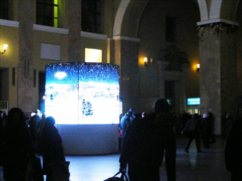 Светодиодный экран СЭА внутри ж/д вокзала, Харьков