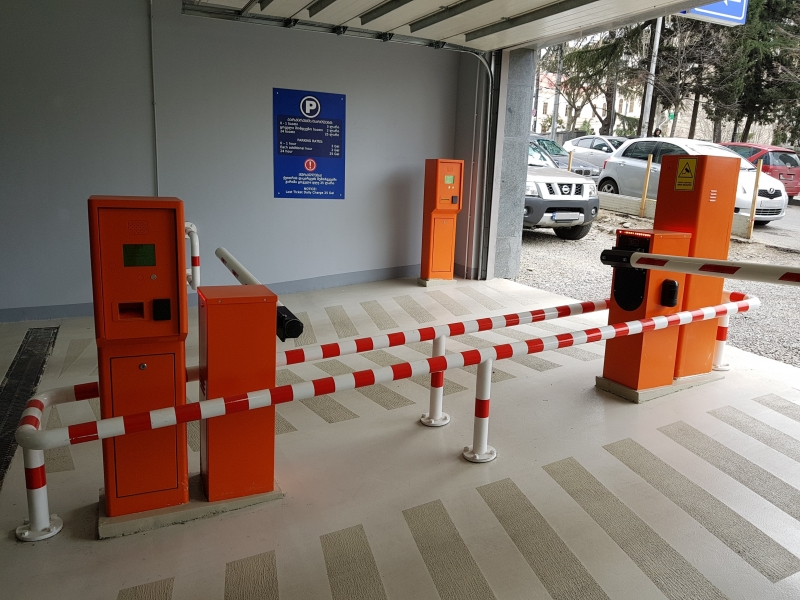 Automated parking in Tbilisi has one exit and one entry point where terminals are suited for both right-hand and left-hand drive cars.