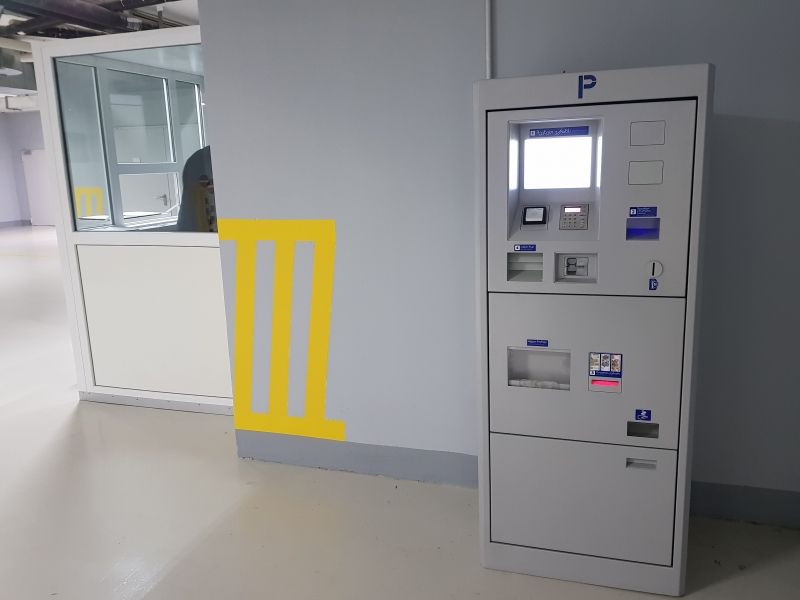 Underground parking in Georgia of SEA Company production has three automated parking payment terminals.
