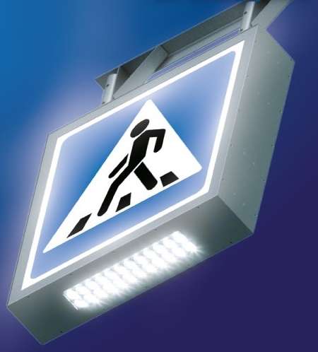 LED illuminated sign for safer pedestrian crossing