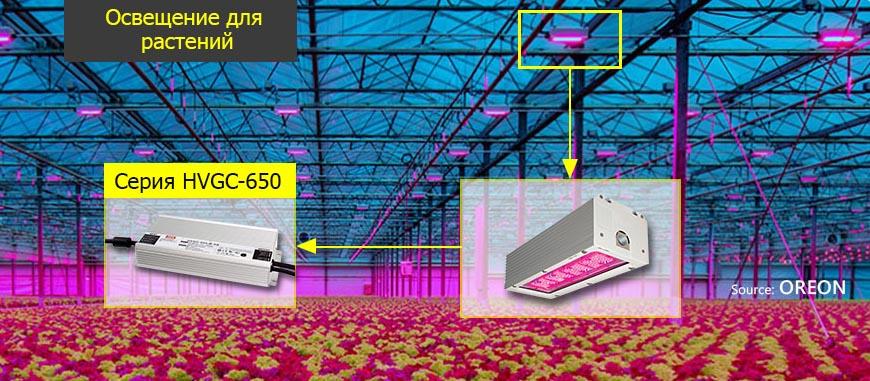 Пример использования светодиодных драйверов серии HVGC-650 в освещении теплицы