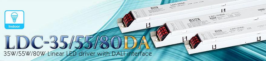 Светодиодные драйверы LDC-35DA, LDC-55DA, LDC-80DA с DALI и push-диммингом для линейных светильников