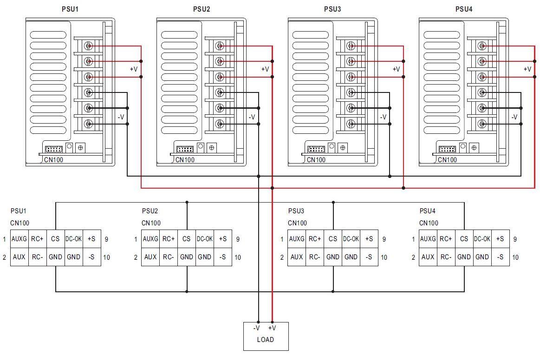 Схема параллельного включения 4-х модулей MSP-1000