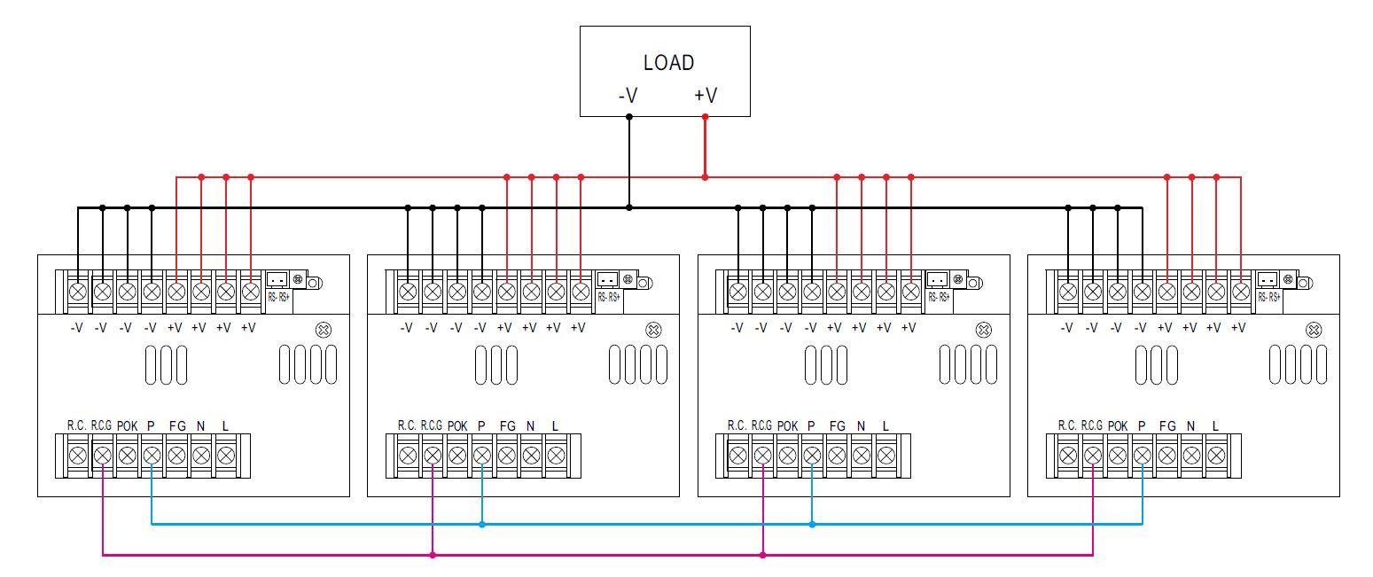 Схема параллельного включения 4-х модулей источников питания PSPA-1000