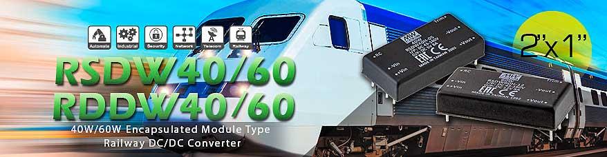 "RSDW40, RSDW60, RDDW40, RDDW60 - DC/DC-преобразователи для транспорта в корпусе 2""x1"""