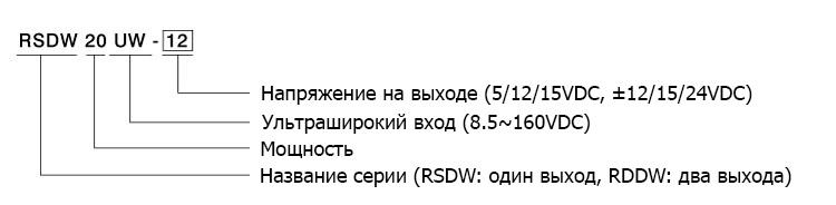 Кодирование моделей RSDW20UW и RDDW20UW