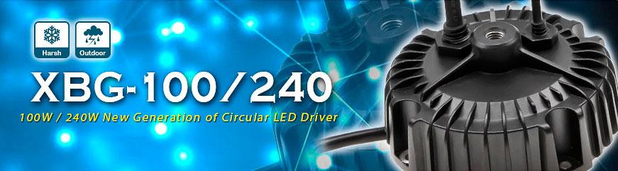 """XBG-100 и XBG-240 - новое поколение круглых LED-драйверов MEAN WELL для подвесных светильников с """"постоянной мощностью"""""""