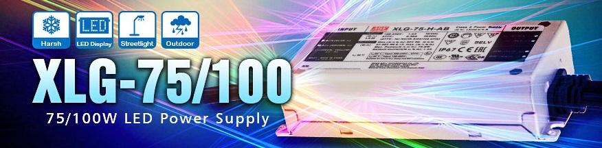 XLG-75/100 – две новых серии LED-драйверов MEAN WELL с постоянной мощностью
