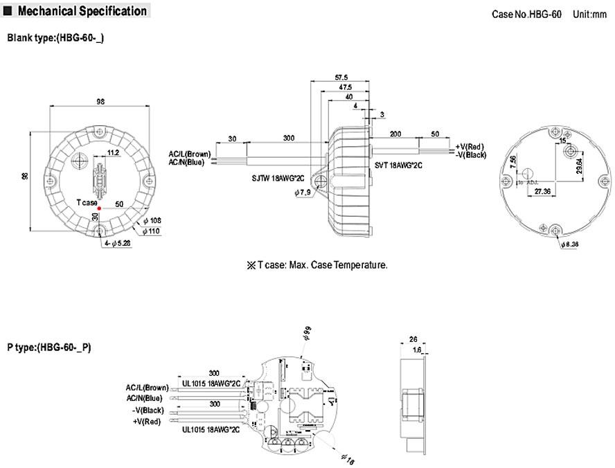 Диаметр источника питания в открытом корпусе 99 мм (высота 26 мм), в закрытом корпусе – 110 мм (высота 60,5 мм). Масса устройства соответственно 0,21 кг или 0,5 кг.