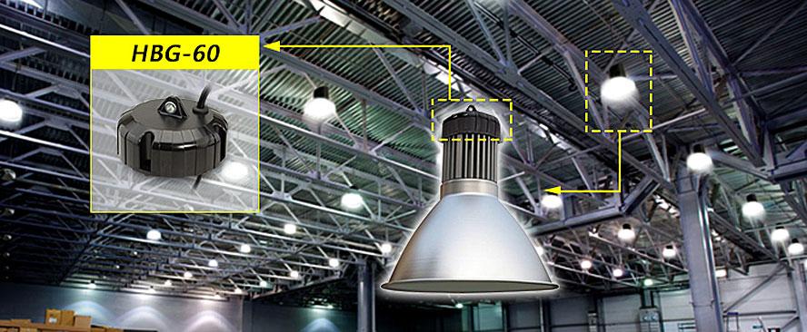 Типовые применения для нового источника питания охватывают все разнообразие подвесных светильников круглой формы в коммерческих и индустриальных приложениях.