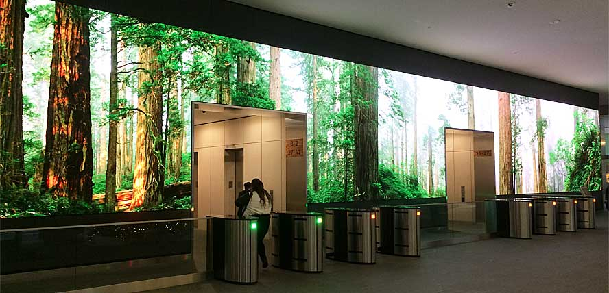 На момент инсталляции экран стал самым длинным в США светодиодным экраном из установленных в помещениях