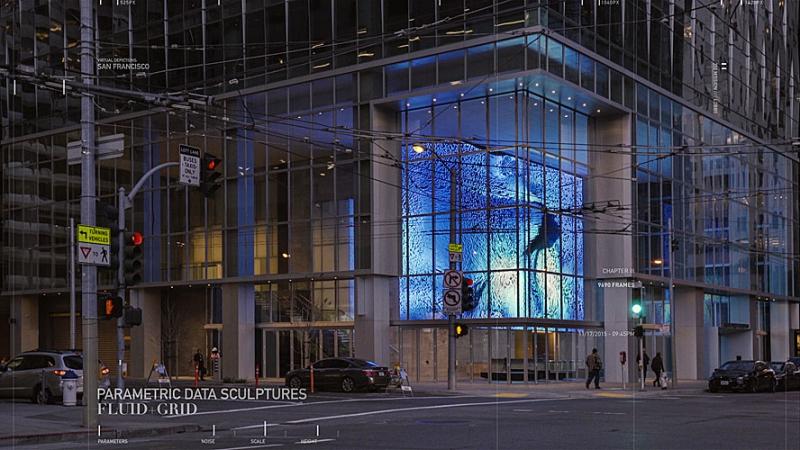 В качестве плацдарма для творчества художники получили светодиодную видеостену с высоким разрешением, установленную в холле нового офисного здания